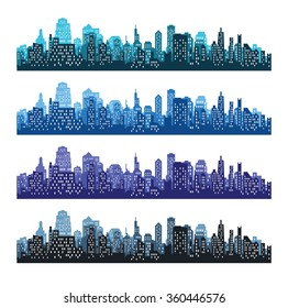 Set of city silhouettes. Cityscape backgrounds
