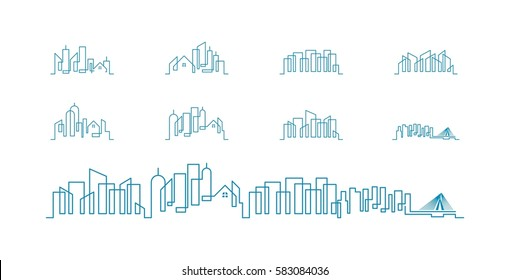 set of city skyline line art vector illustration