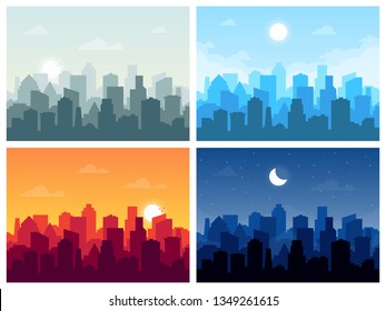 Set of city skyline vector illustration in flat style. City buildings silhouette different times of the day: morning, afternoon, evening, night.