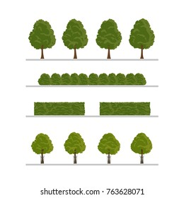Set of city tree, bush, hedge decoration elements, flat style vector illustration isolated on white background. Collection of green tree, bush and hedge elements, city landscape elements