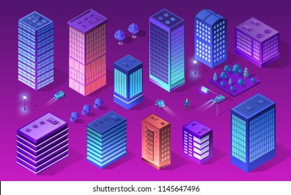 Set city of ultraviolet style neon design from a skyscraper street building infographic business concept. Isometric   vector modern violet urban illustration.