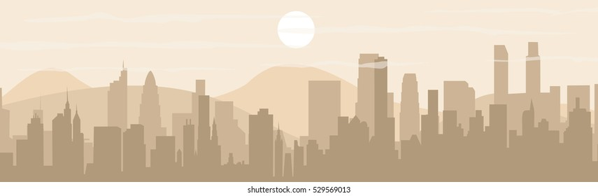Set of cityscape background. Buildings silhouette cityscape with mountains. Modern architecture. Urban landscape. Horizontal banner with megapolis panorama. Vector illustration