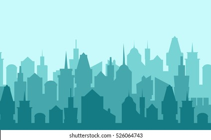 Set of cityscape background. Skyline silhouettes. Modern architecture. Blue urban landscape. Horizontal banner with megapolis panorama. Vector illustration