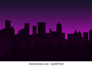 Set of cityscape at dawn. Horizontal banner with metropolis panorama.