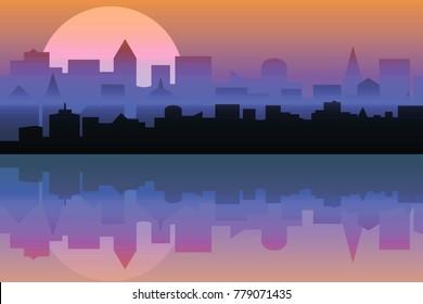 Set of cityscape at dawn. Horizontal banner with metropolis pano