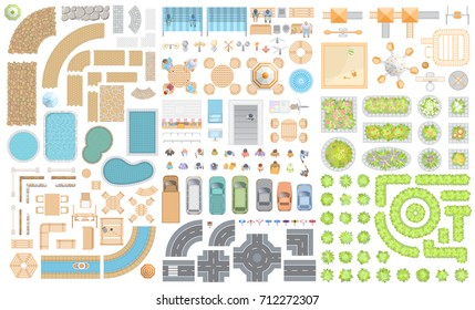 Set of cityscape. Elements of the street. Top view. Road, cars, people, furniture, playground, flowerbed. View from above.