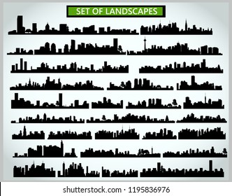 Set of cityscape silhouettes on a light gray background