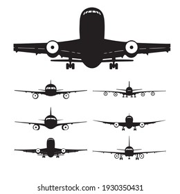 set of civilian airplane silhouette icons in black and white