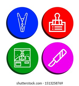 Set of clamp icons such as Clothespin, Clip, Clamp, Scalpel , clamp