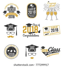 Set of Class of 2018 badges. Concept for shirt, print, seal, overlay or stamp, greeting, invitation card. Vector illustration