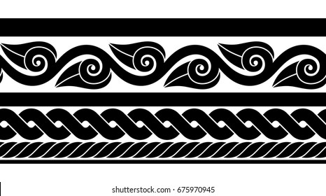 Set of classic ancient Roman seamless border.