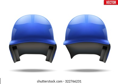Set of Classic Blue baseball helmets. Sample equipment for your design. Vector illustration Isolated on white background.