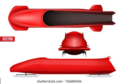 Set of Classic bobsleigh for four athletes. Top and front and side view. Sporting equipment for Bobsled race. Vector Illustration isolated on white background.