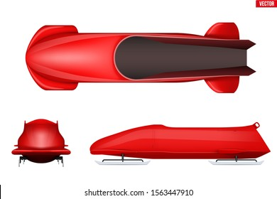 Set of Classic bobsleigh for two athletes. Top and front and side view. Sporting equipment for Double Bobsled race. Vector Illustration isolated on white background.