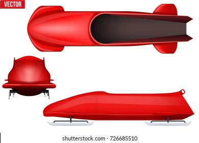 Set of Classic bobsleigh for two athletes. Top and front and side view. Sporting equipment for Bobsled race. Vector Illustration isolated on white background.