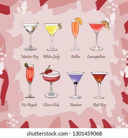 Set of classic cocktails. Fresh bar alcoholic drinks menu. Vector sketch illustration collection. Hand drawn. Martini dry, White Lady, Bellini, Cosmopolitan, Kir Royale, Clover club, Aviation, Rob Roy