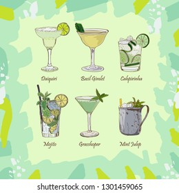Set of classic cocktails on abstract green background. Fresh bar alcoholic drinks menu. Vector sketch illustration collection. Hand drawn. Daiquiri, mojito, gimlet, caipirinha, mint julep, grasshopper