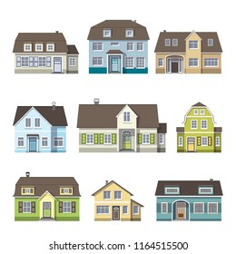 Set of classic cottage house, front view. Isolated on white background.
