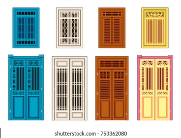 A Set Of Classic Doors Windows. Chinese Home Styles.