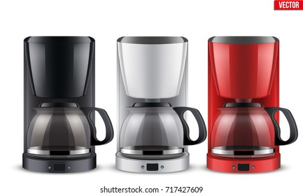 Set of Classic Drip Coffee makers with glass pot. Original design. Editable Vector illustration Isolated on white background.