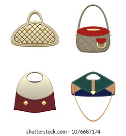 Set of classic elegant handbags for ladies. Isolated vector objects