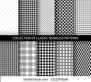Set of classic fashion houndstooth seamless geometric patterns. Variations of pied de poule print