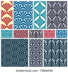 Set of classic geometric seamless patterns. Traditional vector backgrounds collection.