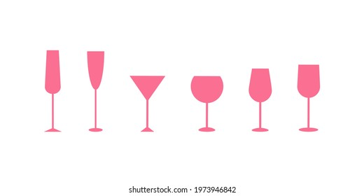 Set of classic glasses for alcohol. Flat icon pink vector simple illustration. Stock vector illustration isolated on a white background. Pink silhouettes of glasses for wine, champagne, martini.