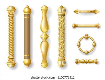 Set of classic gold door handles. Baroque style. Luxurious doors. Vector graphics. Transparent shadows. Jewelry work