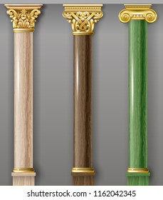 Set of classic gold and marble columns in different styles. Vector graphics