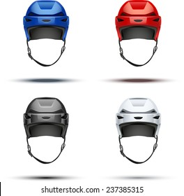 Set of Classic  Ice Hockey Helmet of different colors. Sports Vector illustration isolated on white background.