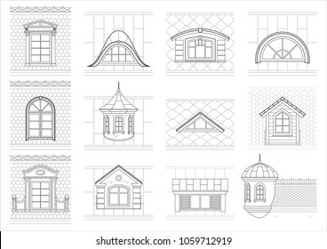 A set of classic mansard facade windows. Pediments. Attics. Silhouettes of city roofs
