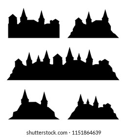 Set of classic medieval castle, fortress, stronghold silhouetes