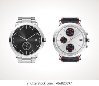 Set of classic and modern mens watches. Vector illustration of classic watches with different watch faces.