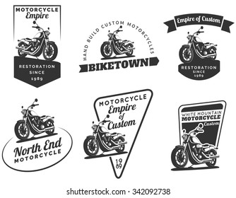 Set of classic motorcycle logo, emblems, badges and icons. Vintage chopper repair, service and club design elements. Isolated vintage motorcycle side view. Vector.