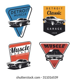 Set of classic muscle car emblems, logo, badges and icons. Service car repair, restoration  and car club design elements