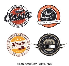 Set of classic muscle car emblems, badges and signs. Service car repair, restoration and car club design elements. Hot rod sign with flame.