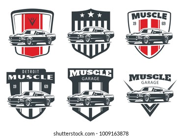Set of classic muscle car logo, emblems and badges isolated on white background. Old american car from 60s.
