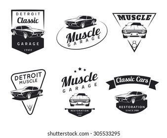 Set of classic muscle car logo, emblems, badges and icons. Service car repair, car restoration and car club design elements. Vector.