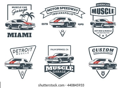 Set of classic muscle car logo, emblems, badges and icons isolated on white background. Service car repair, restoration and club design elements. Vector illustration.