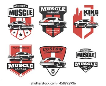 Set of classic muscle car logo, emblems, badges and icons isolated on white background. Car club design elements. Old vintage car service and restoration emblems. Vector.