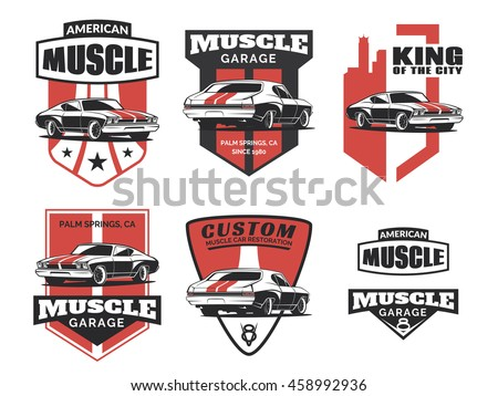 Set Classic Muscle Car Logo Emblems Stock Vector Royalty Free