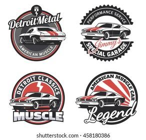 Set of classic muscle car round emblems, badges and signs.Vintage car club design elements.
