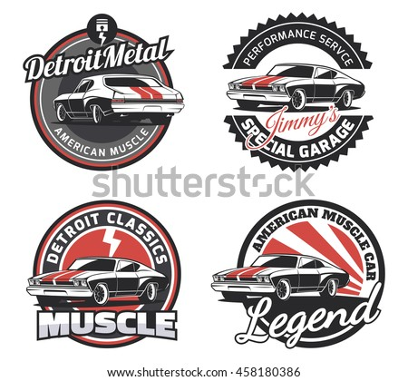 Set Classic Muscle Car Round Emblems Stock Vector Royalty Free - Muscle car club