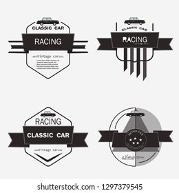 Set of classic muscle retro car logo, badges and icons. Shop car repair, car black and white color Design Vector illustration