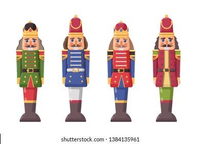 Set classic nutcracker toy soldier.  Christmas cartoon  flat style illustration on white background.