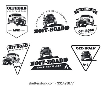 Set of classic off-road suv car emblems, badges and icons. Rock crawler car in mountains. Isolated suv front and side view.