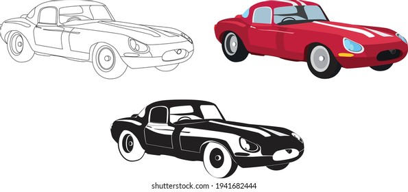 Set of classic racing coupe car. Vector illustration