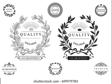 Set of classic seals, emblems and wreaths with a round composition. Signs and symbols of certificates of quality. Vector graphics