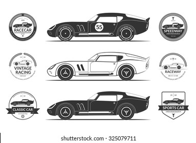 Set of classic sports car silhouettes and vintage car service labels, emblems, logos, badges. Isolated on white background. Vector illustration